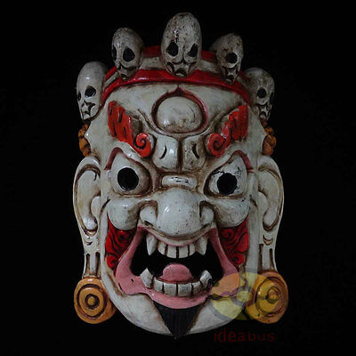 Chinese Folk Art Wood Hand Carved Painted Nuo Mask