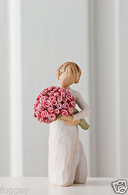Willow Tree Figurine Abundance Girl With Bunch Of Roses  By Susan Lordi 27181