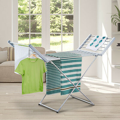Portable Electric Clothes Dryer Heated Towel Rail Airer Hanger Laundry Rack 220W