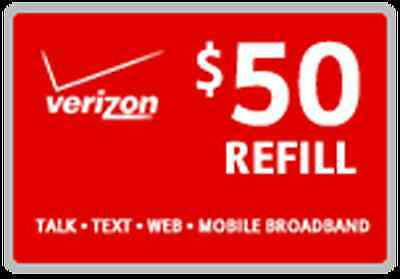 Verizon Refill Minutes $50 Card On Sale Only $49.79