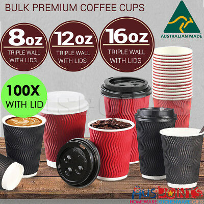 100X Disposable Coffee Cups with Lids Takeaway Paper Triple Wall  Bulk