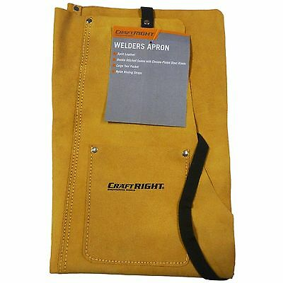 Craftright Welders Leather Apron w Large Tool Pocket, Camel Workwear Aus. Brand