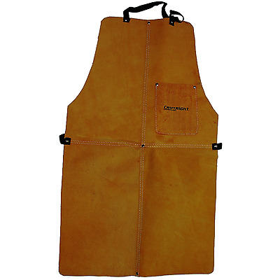 Craftright Welders Leather Apron w Sturdy Front Tool Pocket Camel Workwear New