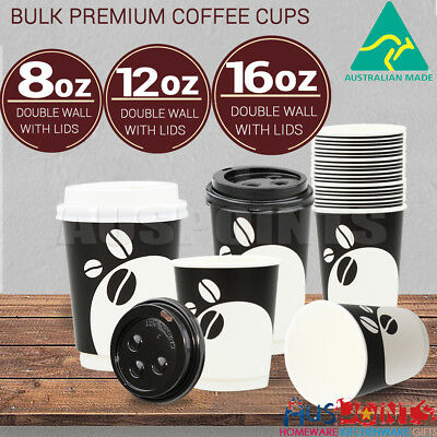 Bulk Disposable Coffee Cups with Lids Takeaway Paper Bulk