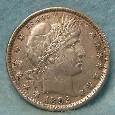 1892 Barber Silver Quarter XF  First Year Of Issue! * Circulated US Coin *