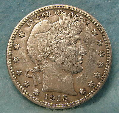 1913 Barber Silver Quarter XF-  KEY DATE! * Circulated US Coin *