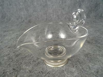 Frank M. Whiting Sterling Silver Footed Glass Sauce Boat