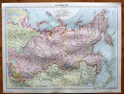 1939 Large Map Northern Asia Russia Socialist Federal Soviet Republic