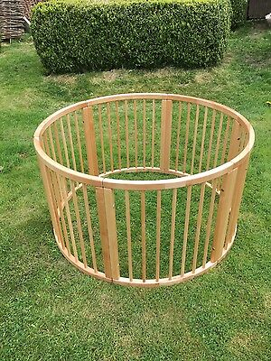 Solid wooden playpen, round 120cm, assembled but unused