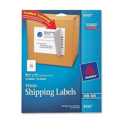 "Avery 8165 Mailing Label - 8.5"" Width X 11"" Length 1/sheet - 25 COUNT PKG"