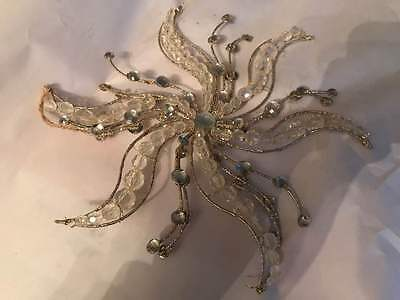 New Pottery Barn GOLD SEA STAR SNOWFLAKE LARGE ORNAMENT