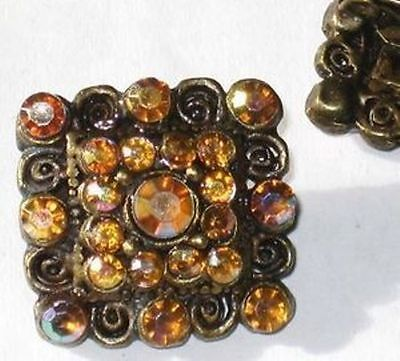 2 AB RHINESTONE and BRASS Antique Style Brooches AMBER