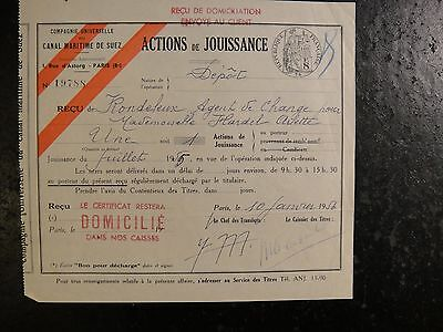 1956 Republic of France Stock Certificate in the Suez Canal. Very Fine.