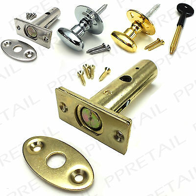 BRASS/CHROME SECURITY DOOR BOLT / THUMB TURN KEY SETS Frame Strong Dead Lock