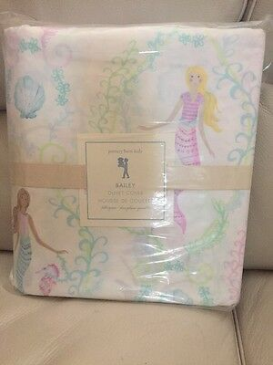 New Pottery Barn Kids BAILEY Mermaid Cotton Duvet Cover FULL/QUEEN Pink Beach