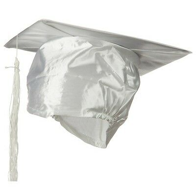 White Silk Satin Graduation Grad Cap With Tassel Mortarboard Hat One Size