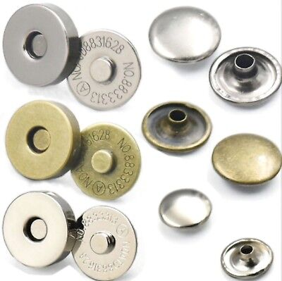 14 - 18 mm Round Double Rivet Magnetic Snaps Purse Clasp Closures Metal Bag Stud