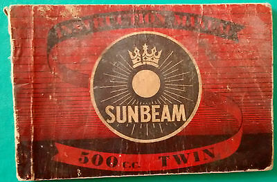 SUNBEAM   500cc TWIN     Instruction Manual      original