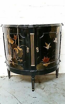Vintage Asian Black laquer enamel hand painted moon cabinet Beautiful