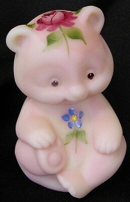Fenton Art Glass Hand Painted Rose On Burmese Satin Mini Baby Bear - signed !!