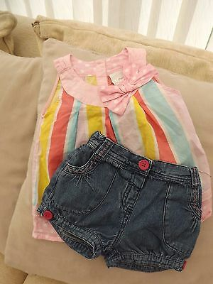 Girls NEXT Top and George Denim Shorts - Age 18-24 Months