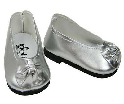 Silver Slip On Dress Shoes with Bow Fits 18 inch American Girl Dolls