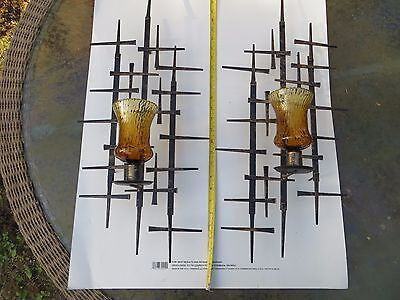 Pair of Mid Century Modern Brutalist Nail Art Wall Sculptures