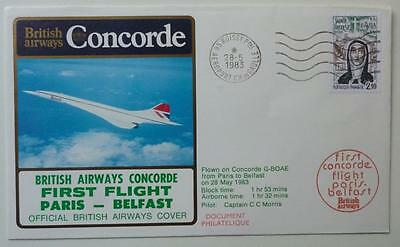 CONCORDE - 1983 BA Paris to Belfast First Flight Flown Cover