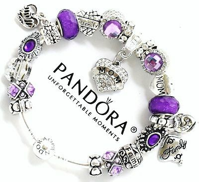 Authentic PANDORA Sterling Silver Bangle Bracelet MOM PURPLE European Charms