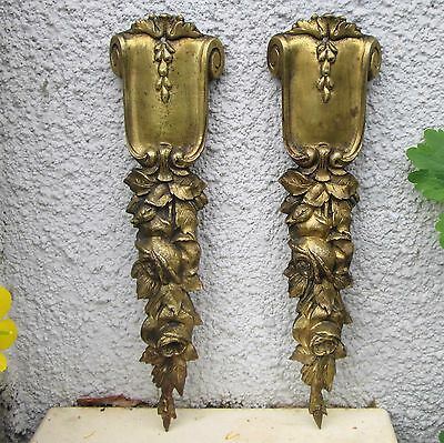 PAIR ANTIQUE FRENCH 19thC BRONZE PEDIMENTS SIGNED HARRIBEY FURNITURE MOUNT ROSES