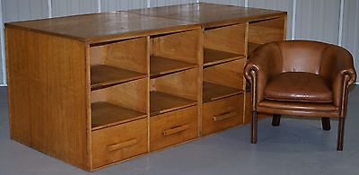 Vintage Solid Oak Double Sided Haberdashery Apothecary Shop Counter With Drawers