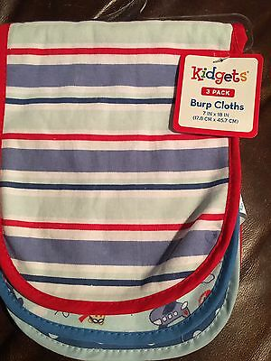 Baby Boys 3 Pack Burp Cloths Terry Lined NEW Sports Designs CUTE