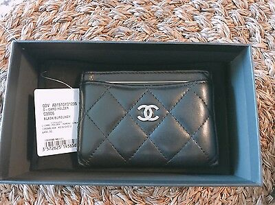 Chanel Quilted Lambskin Card holder --- Black with Silver CC logo