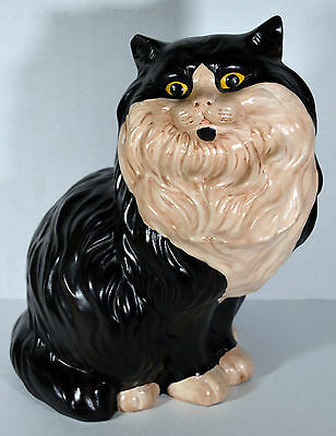 "Vintage 13"" Large Chalkware Kitty Cat Statue Hand Painted Signed Norma Stanley"