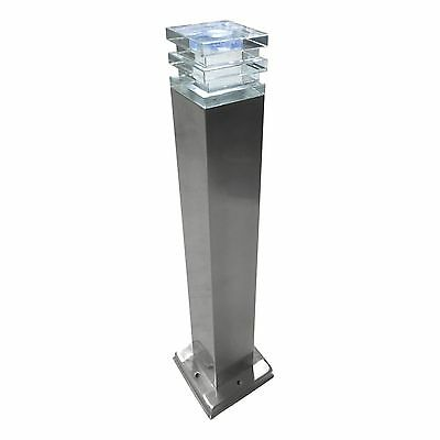 Stainless Steel Square LED Garden, path Bollard Lights, Set Of Two