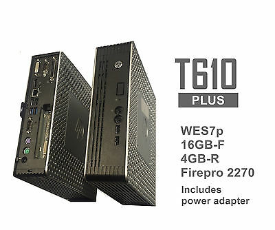 HP t610 PLUS WES7p Thin Client 16GB-F 4GB-R Firepro 2270 Video Card  B8D17AA#ABA