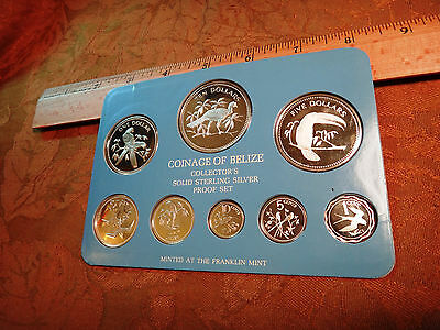 1978 Solid Sterling Silver Belize Proof 8-Coin Set - Free S&H USA