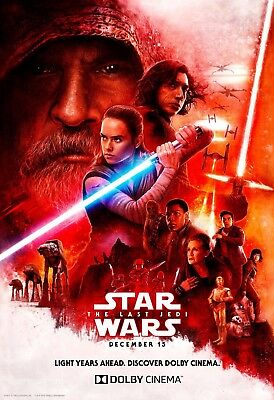 "Star Wars The Last Jedi Movie Poster Dolby Film Art Print 13x20"" 24x36"" 27x40"""