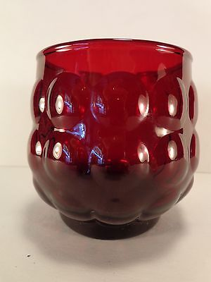 "Royal Ruby Red Bubble 8 oz Old Fashioned Tumbler(s) 3 1/4"" Anchor Hocking Glass"