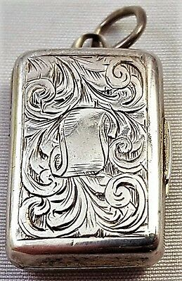 Rare Antique mid-1800's ENGLISH STERLING SILVER VESTA VINAIGRETTE GWCo Maker 5g