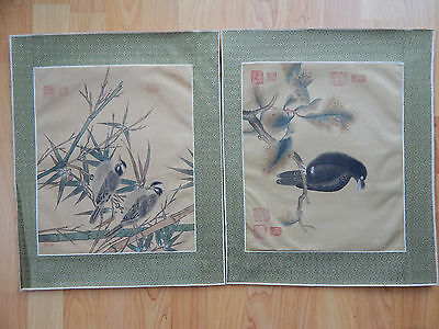 2 Vintage Chinese Watercolor Birds On Silk, Brocade Borders Signed Paintings