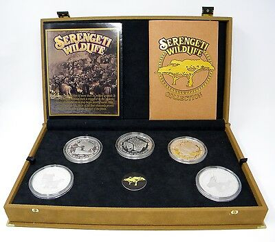 1998 Serengeti Wildlife 5oz .925 Silver 10 Coin Collection w/ Box & Papers-Rare!
