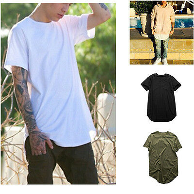 Mens Long Tail Tee Short Sleeve Loose T Shirts Tops Casual Solid Color Tops