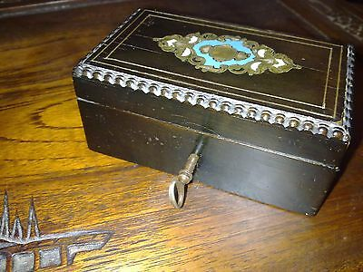 French brass inlaid wooden trinket jewellery box, antique