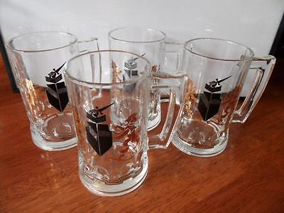 4 x VINTAGE RETRO COAT OF ARMS THEME GLASS BEER STEINS MENS BAR MAN CAVE