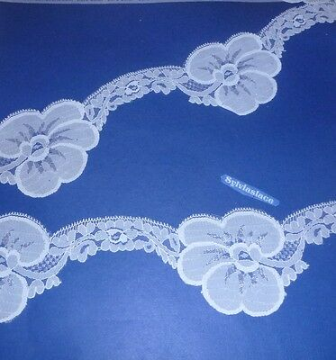 2 m  of   Fancy  White  Nylon  Flat Trim       5 cm  Wide  At  Widest Point