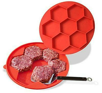 Silicone Burger Press and Freezer Container, Bukm 7 in 1 Hamburger Patty Maker J