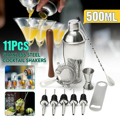 Set 11Pz 500ML Shaker Cocktail Drink Alcool Professionali in Acciaio per Barman