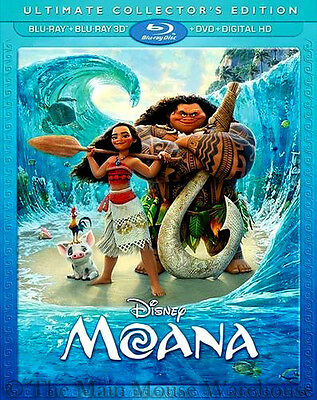 Disney Polynesia Moana 3D Blu-ray DVD Digital Copy Includes Lenticular Slipcover