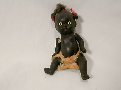 "Vintage 3.75"" Black Americana Baby Porcelain Jointed Doll, 3 Pig Tails Diapers"
